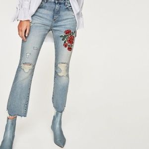 Zara NWT Embroidered Rose Mini Flare Jeans
